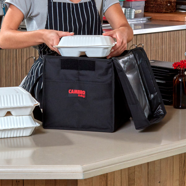 """Cambro GBD121515110 Insulated Black Medium Folding Delivery GoBag™ - 12"""" x 15"""" x 15"""""""
