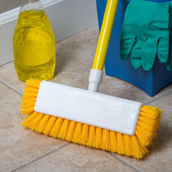 """Carlisle 4042200 Sparta Spectrum 10"""" Hi-Lo Floor Scrub Brush with End Bristles"""