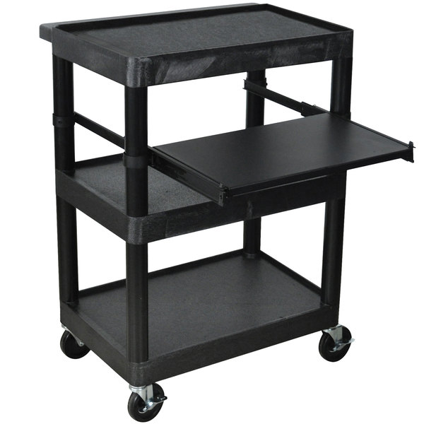 "Luxor LT34-B Laptop Presentation Cart with 3 Shelves 34"" High"