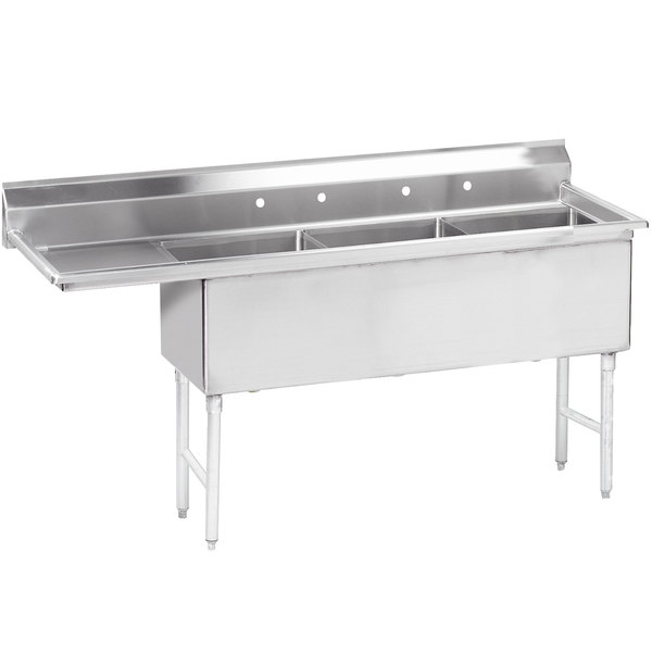 """Left Drainboard Advance Tabco FS-3-2424-24 98 1/2"""" Spec Line Fabricated Three Compartment Pot Sink with One Drainboard"""