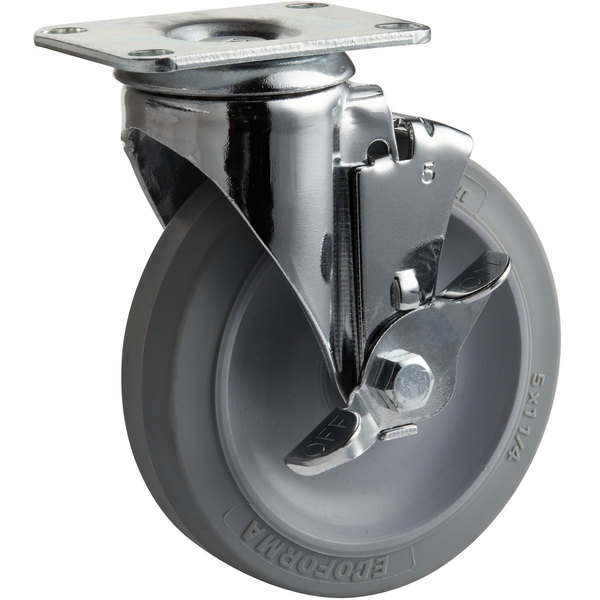 """Cambro H06001 5"""" Swivel Plate Caster with Brake for Dish Caddies Main Image 1"""