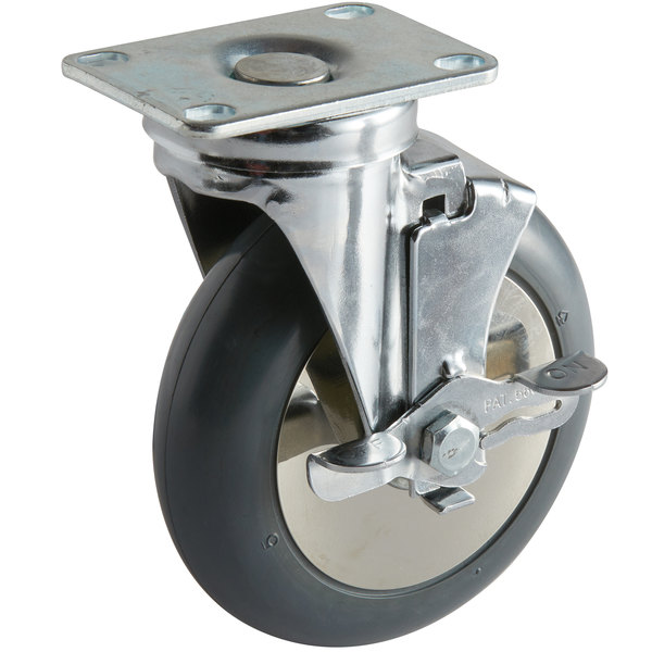 "Cambro 60293 5"" Swivel Plate Caster with Brake for Ice Caddies Main Image 1"
