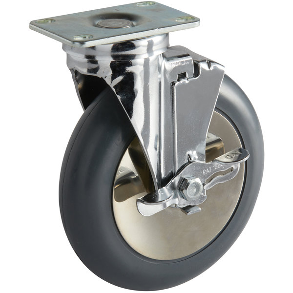 Cambro 60268 Swivel Plate Caster with Brake for Camtherm® Holding Cabinets Main Image 1