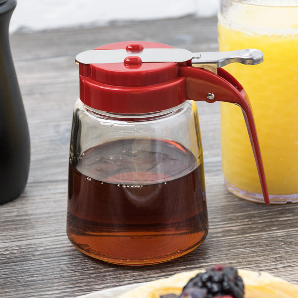 Tablecraft 1370RE 8 oz. Modern Glass Syrup Dispenser with Red ABS Top - 12/Pack