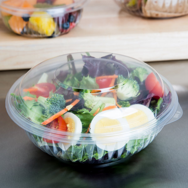 Dart C24HBD PresentaBowls 24 oz. Clear Hinged Plastic Bowl with Dome Lid - 150/Case Main Image 4