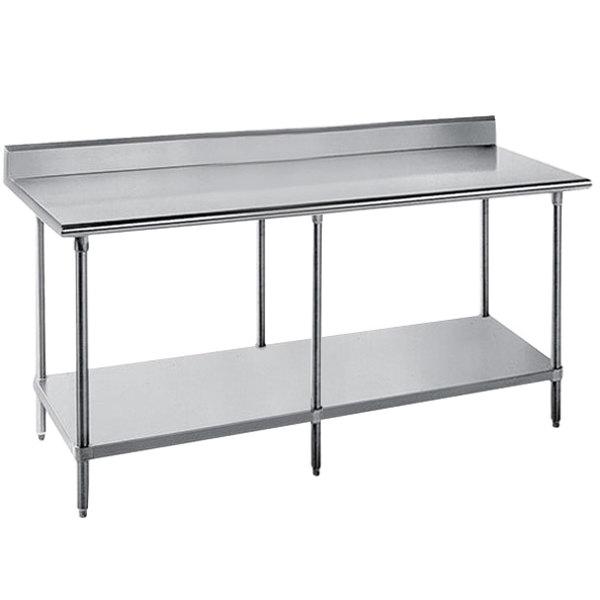 "Advance Tabco SKG-3610 36"" x 120"" 16 Gauge Super Saver Stainless Steel Commercial Work Table with Undershelf and 5"" Backsplash"