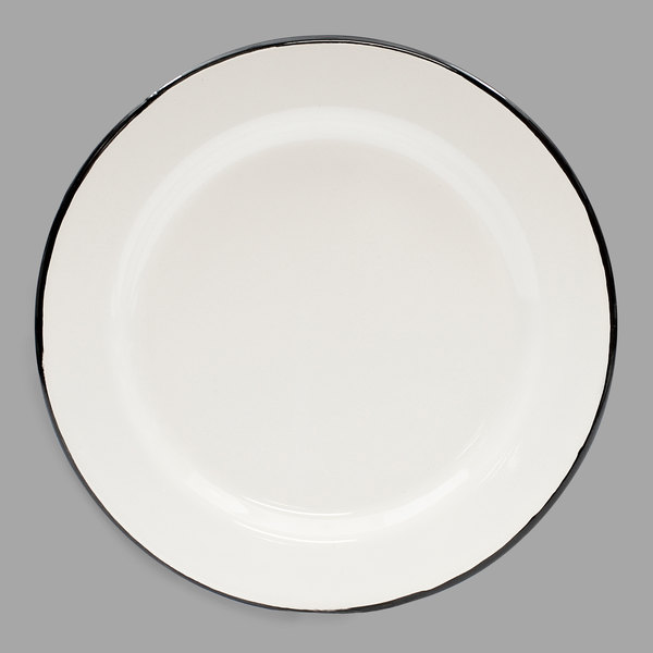 """Tablecraft 80018 Enamelware 8"""" Black and White Plate"""