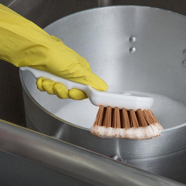 "Carlisle 4054125 Sparta Spectrum 8"" Tan General Clean Up / Pot Scrub Brush"