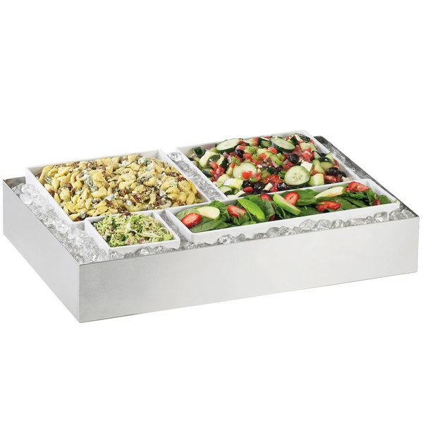 """Cal-Mil 1398-55 Cater Choice System Stainless Steel Ice Housing with Drain Kit - 32"""" x 24"""" x 4 1/4"""""""