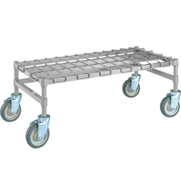 """Metro MHP55S 48"""" x 24"""" x 14"""" Heavy Duty Mobile Stainless Steel Dunnage Rack with Wire Mat - 900 lb. Capacity"""