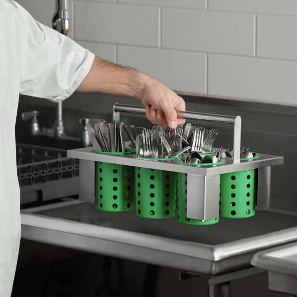 Steril-Sil E1-BS60E-LIME Stainless Steel Drop-In Silverware Holder with 6 RP-25 Lime Plastic Cylinders