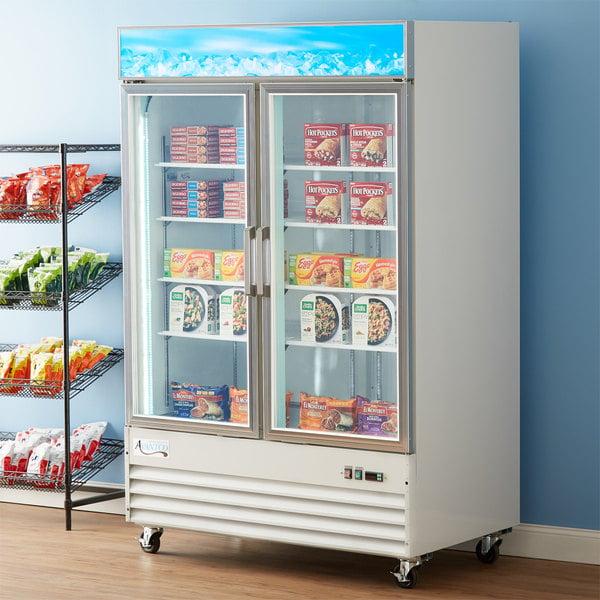 "Avantco GDC-49F-HC 53 1/8"" White Swing Glass Door Merchandiser Freezer with LED Lighting Main Image 7"