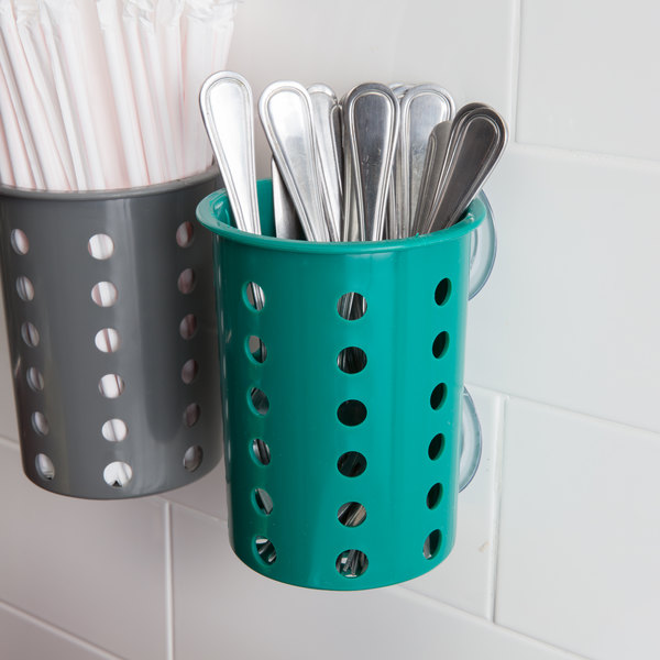 Steril-Sil PN1-HUNTER Hunter Green Plastic Suction Cup Silverware and Condiment Cylinder