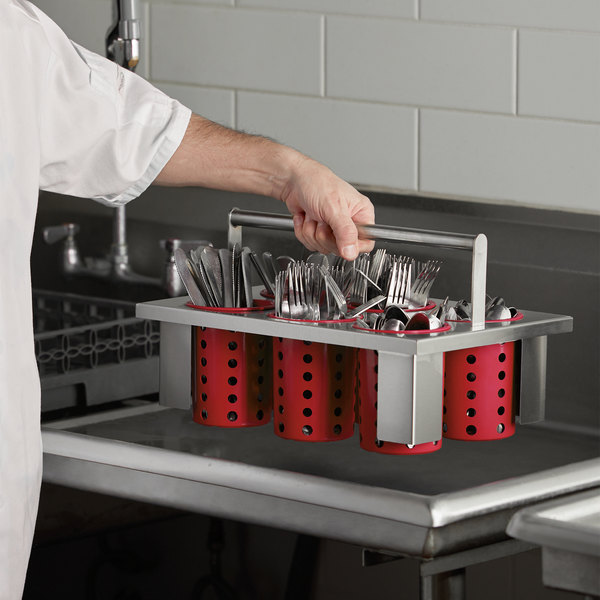 Steril-Sil E1-BS60E-RED Stainless Steel Drop-In Silverware Holder with 6 RP-25 Red Plastic Cylinders