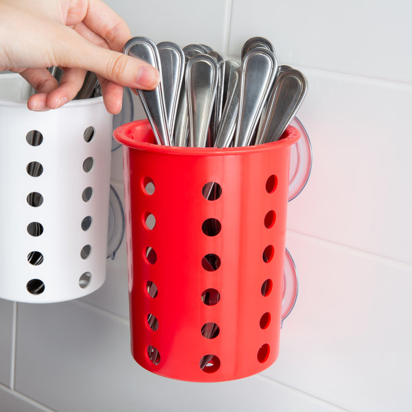 Steril-Sil PN1-RED Red Plastic Suction Cup Silverware and Condiment Cylinder