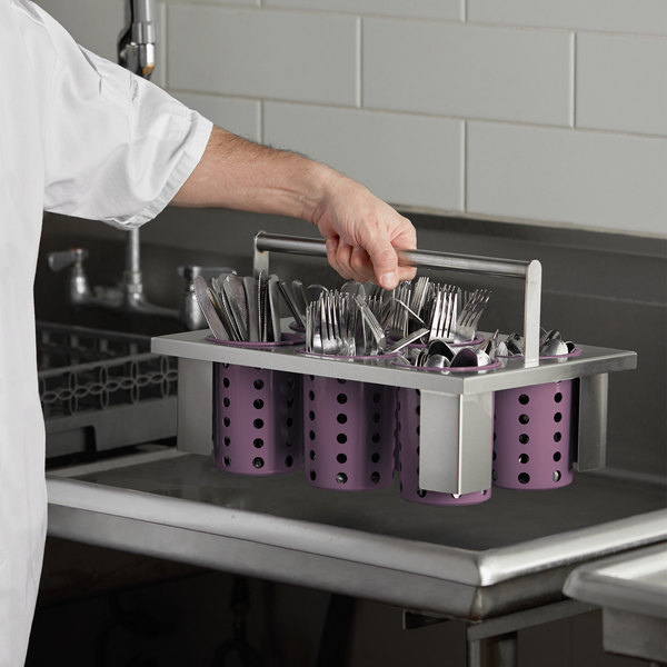 Steril-Sil E1-BS60E-VIOLET Stainless Steel Drop-In Silverware Holder with 6 RP-25 Violet Plastic Cylinders