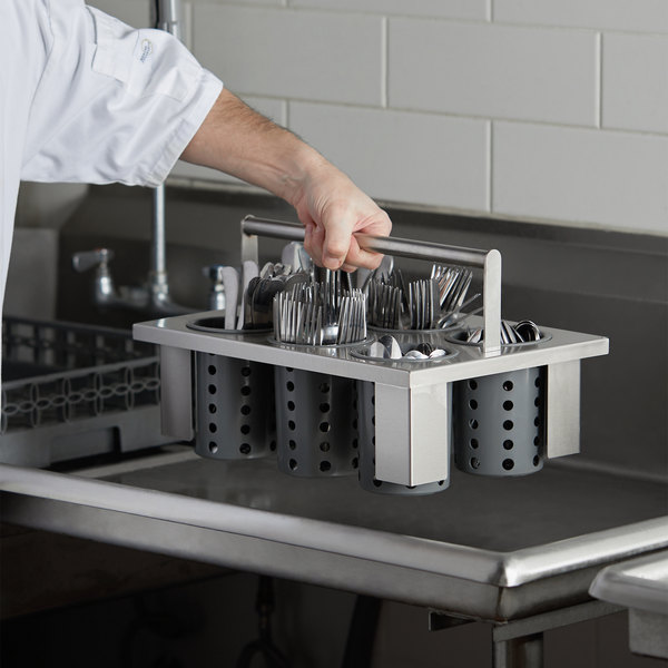 Steril-Sil E1-BS60E-GRAY Stainless Steel Drop-In Silverware Holder with 6 RP-25 Gray Plastic Cylinders