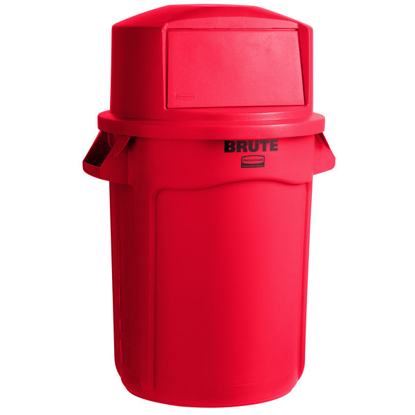 Rubbermaid Brute 32 Gallon Red Round, Rubbermaid Outdoor Garbage Can With Lid