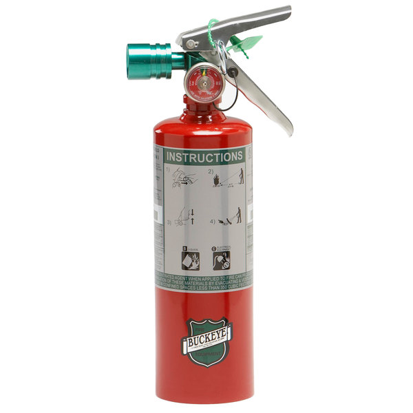 Buckeye 2.5 lb. Halotron Fire Extinguisher with Fixed Nozzle and DOT Vehicle Bracket - Rechargeable Untagged - UL Rating 2-B:C Main Image 1