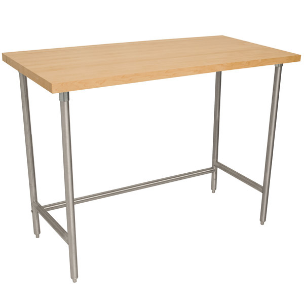"""Advance Tabco TH2G-366 Wood Top Work Table with Galvanized Base - 36"""" x 72"""""""