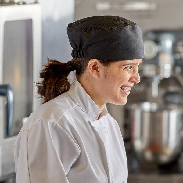 Choice Black Mesh Top Chef Skull Cap / Pill Box Hat - Regular Size