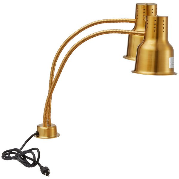 "Avantco HLDBL24GD 24"" Gold Double Arm Stainless Steel Heat Lamp - 120V, 500W"