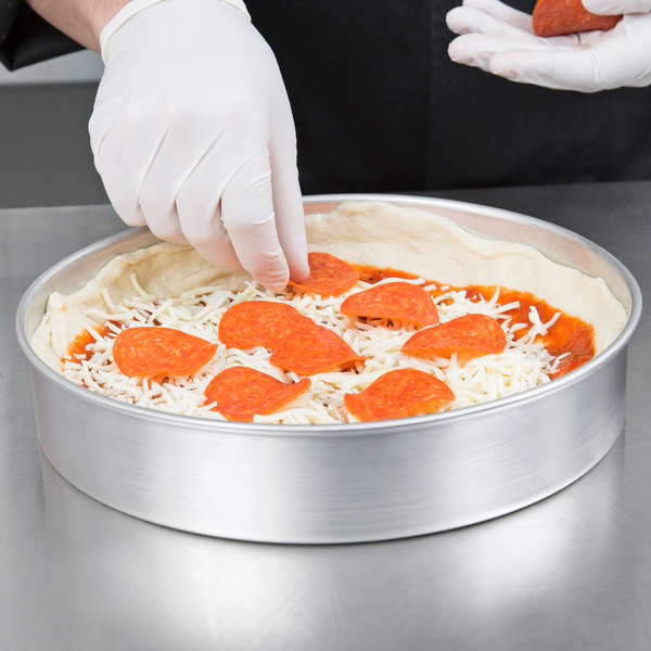 "American Metalcraft A80102 10"" x 2"" Standard Weight Aluminum Straight Sided Deep Dish Pizza Pan"