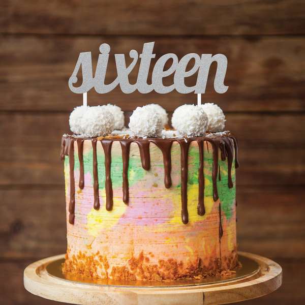 Glitter Sixteen Cake Topper Image Preview Main Picture