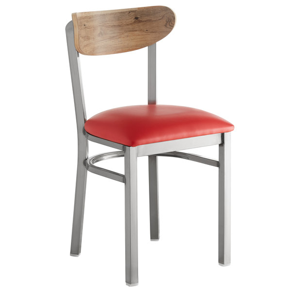 Lancaster Table & Seating Boomerang Clear Coat Chair with Red Vinyl Seat and Driftwood Back Main Image 1