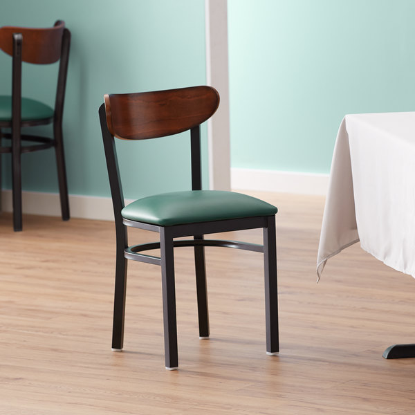 Lancaster Table & Seating Boomerang Black Chair with Green Vinyl Seat and Antique Walnut Back Main Image 4