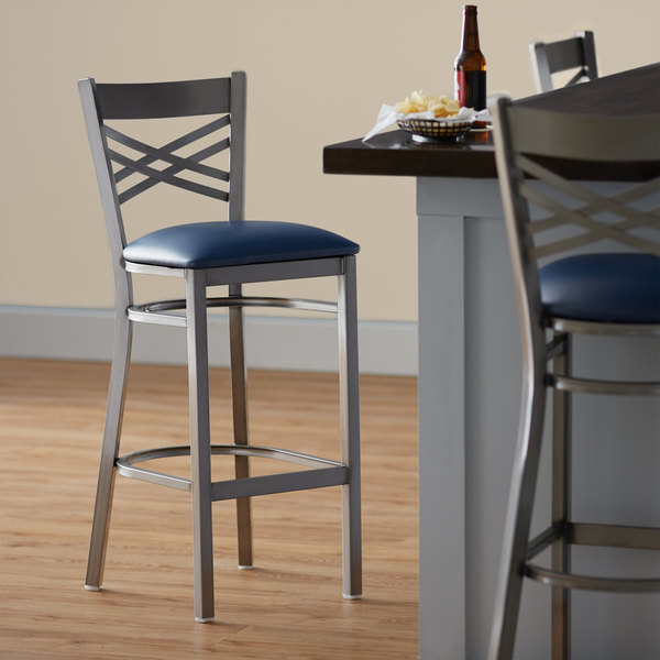 """Preassembled Lancaster Table & Seating Clear Coat Steel Cross Back Bar Height Chair with 2 1/2"""" Navy Vinyl Seat"""