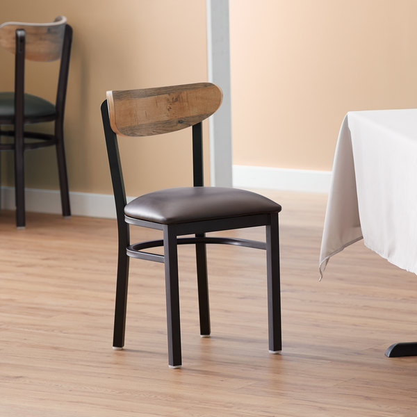Lancaster Table & Seating Boomerang Black Chair with Dark Brown Vinyl Seat and Driftwood Back Main Image 4