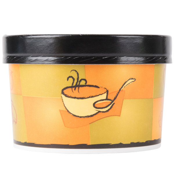 Huhtamaki Chinet 71852 16 oz. Double-Wall Poly Squat Paper Soup / Hot Food Cup with Vented Paper Lid and Streetside Design - 250/Case