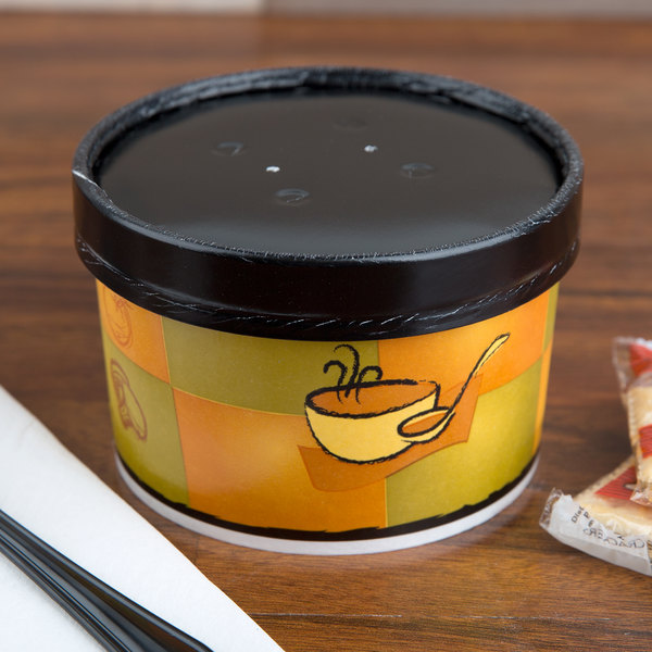 Huhtamaki 71852 16 oz. Double-Wall Poly Squat Paper Soup / Hot Food Cup with Vented Paper Lid and Streetside Design - 250/Case Main Image 4