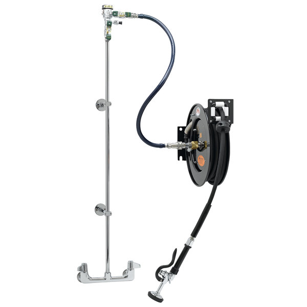Equip By T S 5hr 232 01xe1 35 Open Hose Reel System With Wall Mount Base Faucet Multi Fit Wall Bracket And High Flow Spray Valve