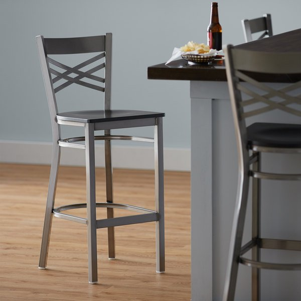 Detached Seat Lancaster Table & Seating Clear Coat Steel Cross Back Bar Height Chair with Black Wood Seat