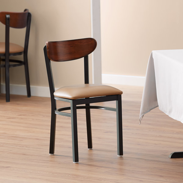 Lancaster Table & Seating Boomerang Black Chair with Light Brown Vinyl Seat and Antique Walnut Back Main Image 4