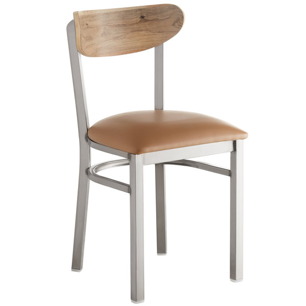 Lancaster Table & Seating Boomerang Clear Coat Chair with Light Brown Vinyl Seat and Driftwood Back Main Image 1