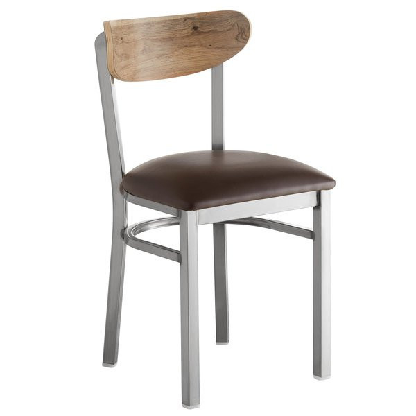 Lancaster Table & Seating Boomerang Clear Coat Chair with Dark Brown Vinyl Seat and Driftwood Back Main Image 1