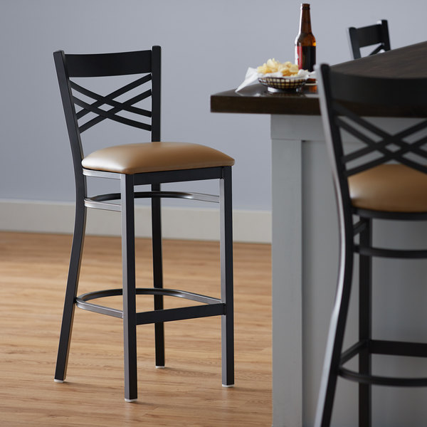 Detached Seat Lancaster Table & Seating Cross Back Bar Height Black Chair with Light Brown Vinyl Seat