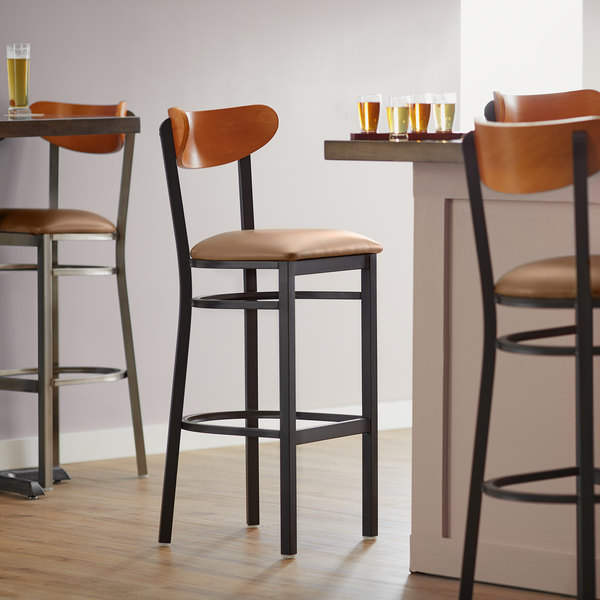 Lancaster Table Seating Boomerang Bar Height Black Chair With Light Brown Vinyl Seat And Cherry Back