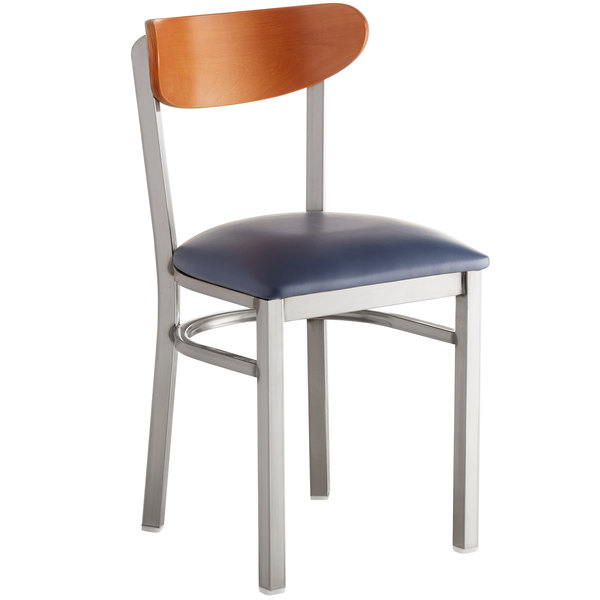 Lancaster Table & Seating Boomerang Clear Coat Chair with Navy Vinyl Seat and Cherry Back Main Image 1