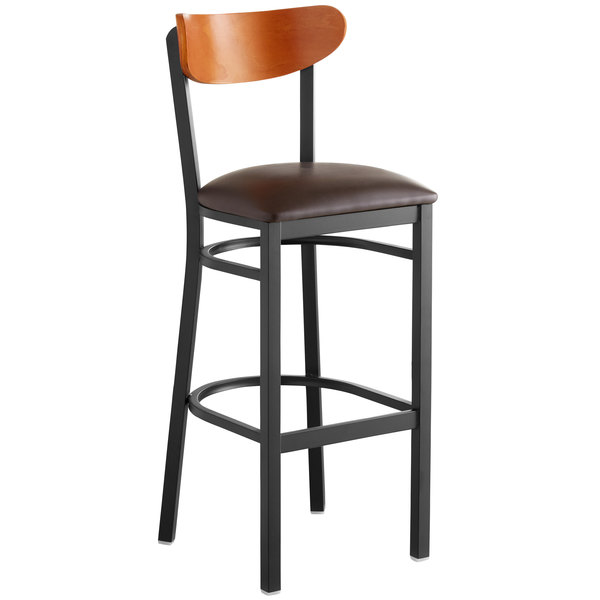 Remarkable Lancaster Table Seating Boomerang Bar Height Black Chair With Dark Brown Vinyl Seat And Cherry Back Inzonedesignstudio Interior Chair Design Inzonedesignstudiocom