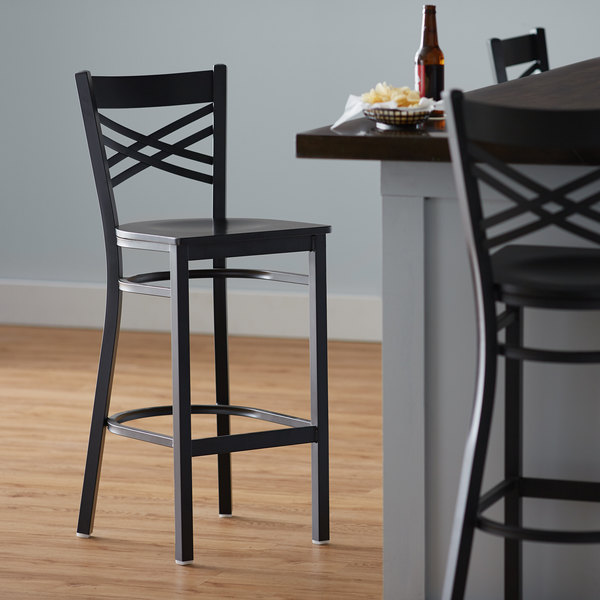 Detached Seat Lancaster Table & Seating Cross Back Bar Height Black Chair with Black Wood Seat
