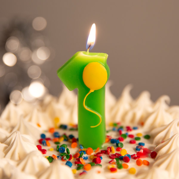 Creative Converting 104201 3 Green 1 Birthday Candle With Yellow