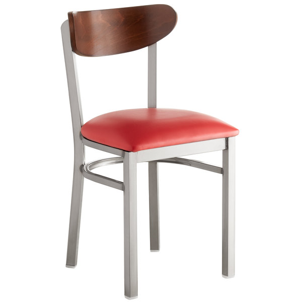 Lancaster Table & Seating Boomerang Clear Coat Chair with Red Vinyl Seat and Antique Walnut Back Main Image 1