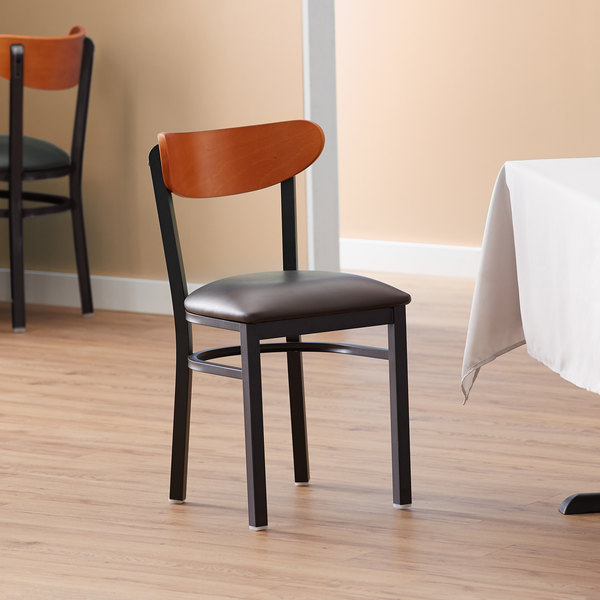 Lancaster Table & Seating Boomerang Black Chair with Dark Brown Vinyl Seat and Cherry Back Main Image 4