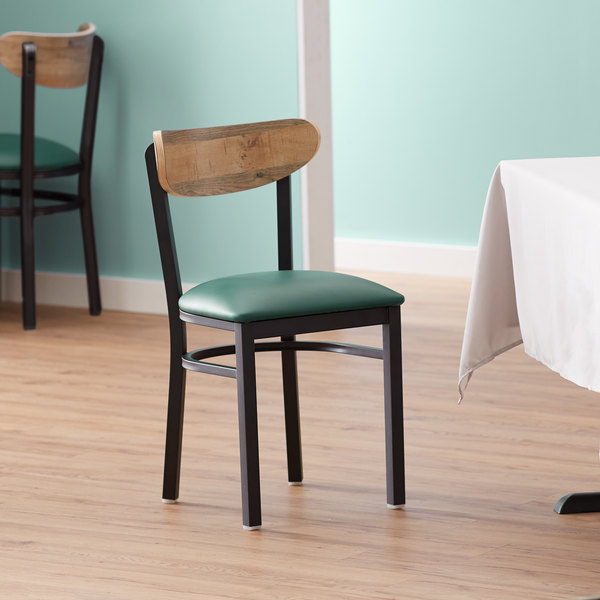 Lancaster Table & Seating Boomerang Black Chair with Green Vinyl Seat and Driftwood Back Main Image 4