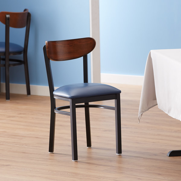 Lancaster Table & Seating Boomerang Black Chair with Navy Vinyl Seat and Antique Walnut Back Main Image 4