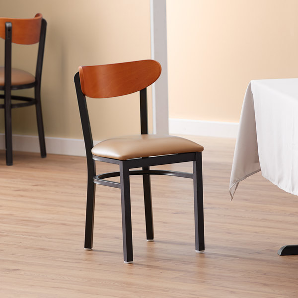 Lancaster Table & Seating Boomerang Black Chair with Light Brown Vinyl Seat and Cherry Back Main Image 4